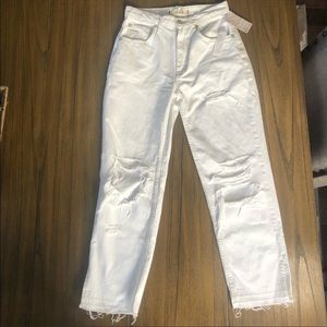 We the Free high rise distressed white ankle jeans